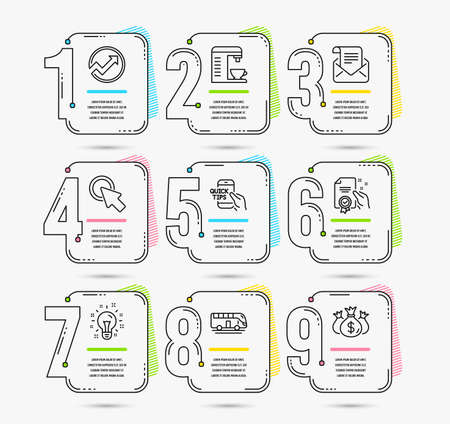 Infographic timeline set of Audit, Bus tour and Click here icons. Education, Idea and Certificate signs. Mail newsletter, Coffee machine and Check investment symbols. Timeline vector Ilustração