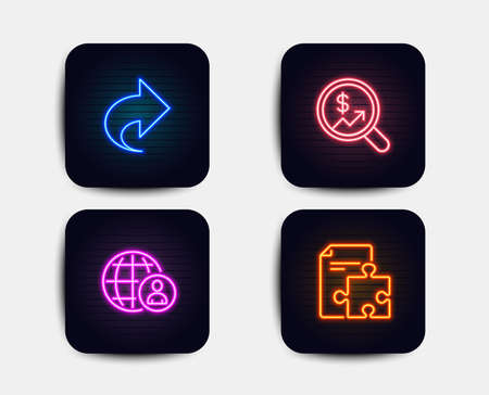 Neon set of International recruitment, Currency audit and Share icons. Strategy sign. World business, Money chart, Link. Puzzle. Neon icons. Glowing light banners. Share vector Illustration