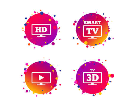 Smart TV mode icon. Widescreen symbol. High-definition resolution. 3D Television sign. Gradient circle buttons with icons. Random dots design. Vector