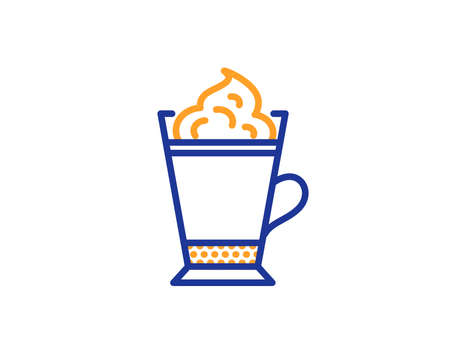 Latte coffee with Whipped cream icon. Hot drink sign. Beverage symbol. Colorful outline concept. Blue and orange thin line color icon. Latte coffee Vector Archivio Fotografico - 112886012