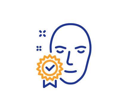 Face verified line icon. Access granted sign. Facial identification success symbol. Colorful outline concept. Blue and orange thin line color icon. Face verified Vector Reklamní fotografie - 111517159