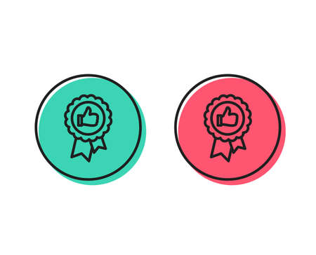 Positive feedback line icon. Award medal symbol. Reward sign. Positive and negative circle buttons concept. Good or bad symbols. Positive feedback Vector Stock Illustratie