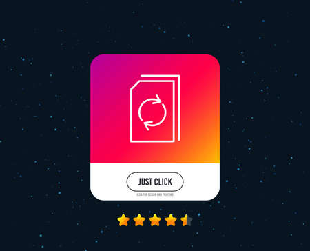 Update Document line icon. Refresh Information File sign. Paper page concept symbol. Web or internet line icon design. Rating stars. Just click button. Vector 일러스트