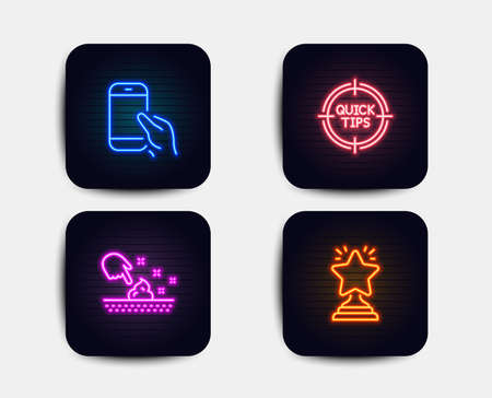 Neon set of Hold smartphone, Tips and Skin moisture icons. Winner sign. Phone call, Quick tricks, Wet cream. Best star. Neon icons. Glowing light banners. Winner vector
