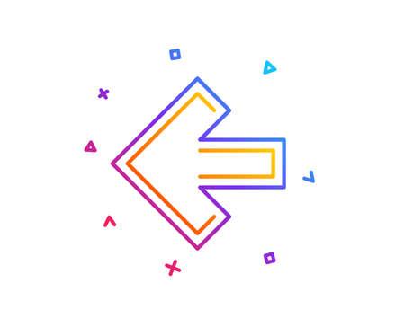 Left arrow line icon. Direction Arrowhead symbol. Navigation pointer sign. Gradient line button. Left arrow icon design. Colorful geometric shapes. Vector 스톡 콘텐츠 - 112886021