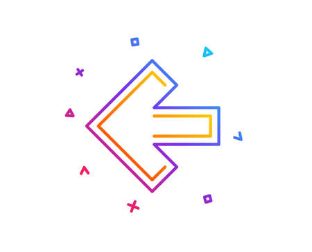 Left arrow line icon. Direction Arrowhead symbol. Navigation pointer sign. Gradient line button. Left arrow icon design. Colorful geometric shapes. Vector
