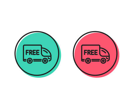 Free delivery line icon. Shopping truck sign. Clearance symbol. Positive and negative circle buttons concept. Good or bad symbols. Free delivery Vector