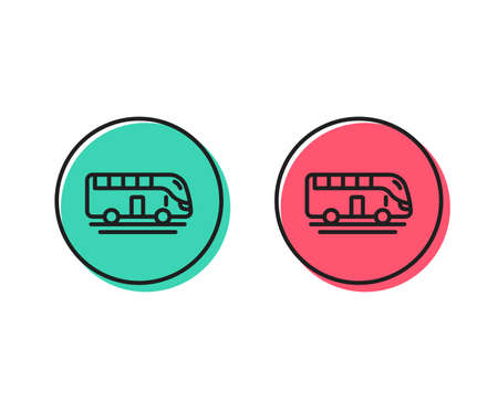 Bus tour transport line icon. Transportation sign. Tourism or public vehicle symbol. Positive and negative circle buttons concept. Good or bad symbols. Bus tour Vector Ilustração