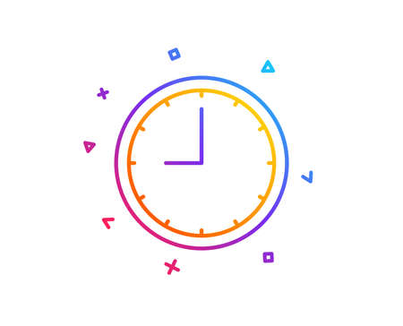 Clock line icon. Time sign. Office Watch or Timer symbol. Gradient line button. Time icon design. Colorful geometric shapes. Vector