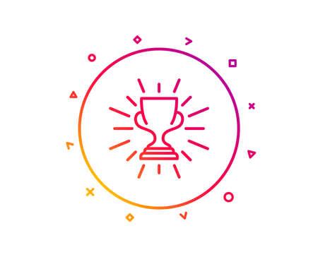 Award cup line icon. Winner Trophy symbol. Sports achievement sign. Gradient pattern line button. Trophy icon design. Geometric shapes. Vector Illustration