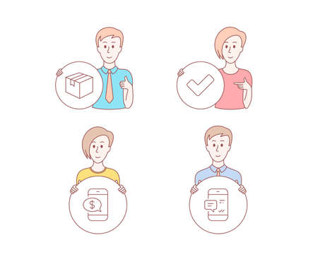 People hand drawn style. Set of Tick, Parcel and Phone payment icons. Smartphone notification sign. Confirm check, Shipping box, Mobile pay. Chat message.  Character hold circle button. Vector