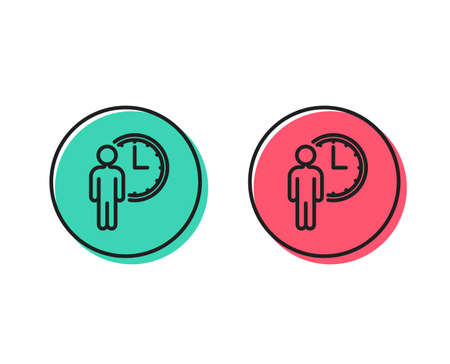 Person waiting line icon. Service time sign. Clock symbol. Positive and negative circle buttons concept. Good or bad symbols. Waiting Vector Stock Vector - 112886045