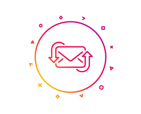 Refresh Mail line icon. New Messages correspondence sign. E-mail symbol. Gradient pattern line button. Refresh Mail icon design. Geometric shapes. Vector