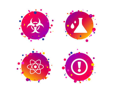 Attention and biohazard icons. Chemistry flask sign. Atom symbol. Gradient circle buttons with icons. Random dots design. Attention vector Illustration