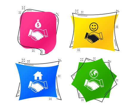 Handshake icons. World, Smile happy face and house building symbol. Dollar cash money bag. Amicable agreement. Geometric colorful tags. Banners with flat icons. Trendy design. Vector 向量圖像