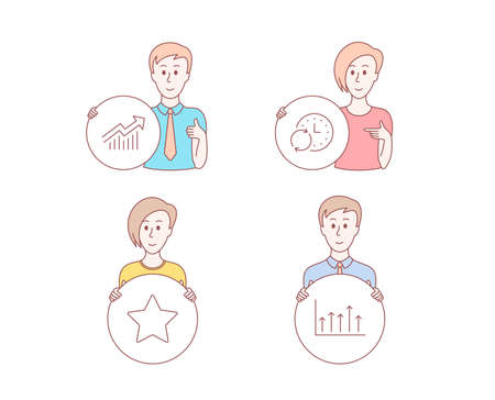 People set of Star, Update time and Demand curve icons. Growth chart sign. Best rank, Refresh clock, Statistical report. Upper arrows. Character hold circle button. People vector