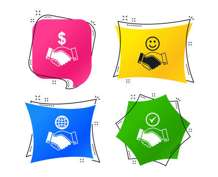 Handshake icons. World, Smile happy face and house building symbol. Dollar cash money. Amicable agreement. Geometric colorful tags. Banners with flat icons. Trendy design. Vector