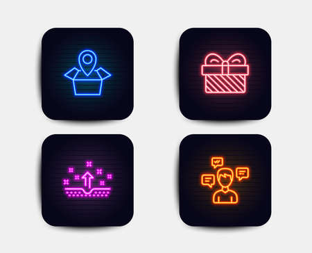 Neon set of Clean skin, Gift and Package location icons. Conversation messages sign. Cosmetics, Present, Delivery tracking. Communication. Neon gift icons. Glowing light banners. Vector
