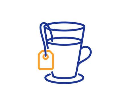 Tea with bag line icon. Hot drink sign. Fresh beverage symbol. Colorful outline concept. Blue and orange thin line color icon. Tea Vector Ilustração