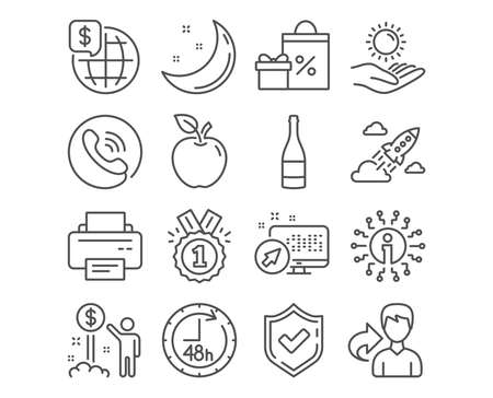 Set of Shopping, World money and Printer icons. Sun protection, 48 hours and Approved signs. Startup rocket, Champagne bottle and Income money. Gifts and sale, Global markets, Printer device. Vector