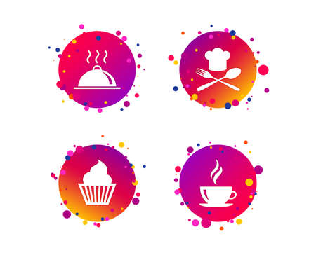 Food and drink icons. Muffin cupcake symbol. Fork and spoon with Chef hat sign. Hot coffee cup. Food platter serving. Gradient circle buttons with icons. Random dots design. Vector
