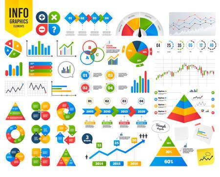 Business-Infografik-Vorlage. Plus- und Minus-Symbole. Löschen und hinterfragen Sie FAQ-Zeichen. Zoom-Symbol vergrößern. Finanzielles Diagramm. Zeitzähler. Vektor