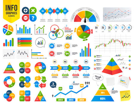 Business infographic template. Plus and minus icons. Delete and question FAQ mark signs. Enlarge zoom symbol. Financial chart. Time counter. Vector Çizim