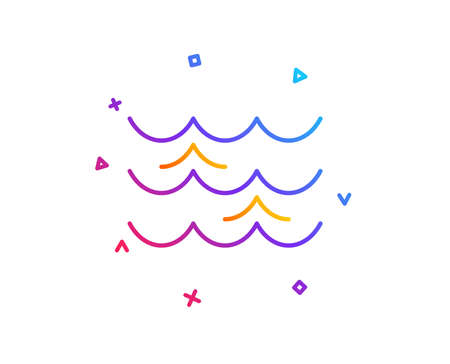 Waves line icon. Sea flowing sign. Water symbol. Gradient line button. Waves icon design. Colorful geometric shapes. Vector Ilustração