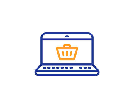 Online Shopping cart line icon. Laptop sign. Supermarket basket symbol. Colorful outline concept. Blue and orange thin line color icon. Online shopping Vector
