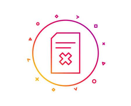 Remove Document line icon. Delete Information File sign. Paper page concept symbol. Gradient pattern line button. Delete file icon design. Geometric shapes. Vector