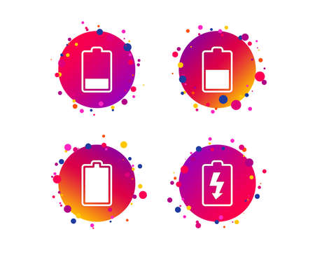 Battery charging icons. Electricity signs symbols. Charge levels: full, half and low. Gradient circle buttons with battery icons. Random dots design. Vector