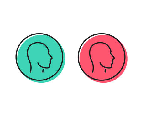 Head line icon. Human profile sign. Facial identification symbol. Positive and negative circle buttons concept. Good or bad symbols. Head Vector Illustration