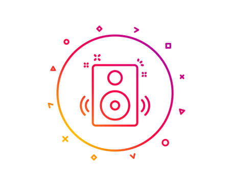 Speakers line icon. Music sound sign. Musical device symbol. Gradient pattern line button. Speakers icon design. Geometric shapes. Vector 写真素材 - 112886107
