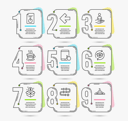 Infographic timeline. Set of Post package, Survey progress and Approved document icons. Tablet pc, Coffee cup and Left arrow signs. Timeline vector Illustration