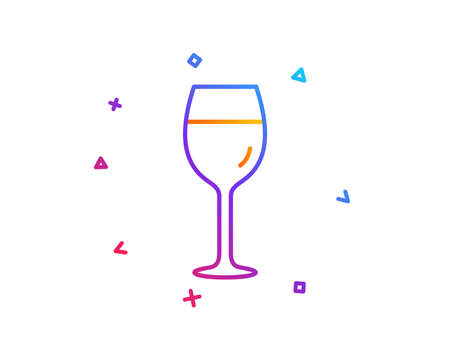 Wine glass line icon. Bordeaux glass sign. Gradient line button. Wine glass icon design. Colorful geometric shapes. Vector