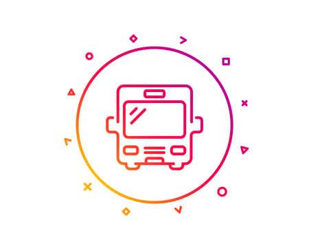 Bus transport line icon. Transportation sign. Tourism or public vehicle symbol. Gradient pattern line button. Bus icon design. Geometric shapes. Vector
