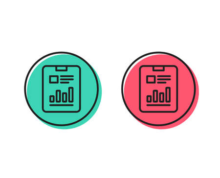Report document line icon. Analysis Chart or Sales growth sign. Statistics data symbol. Positive and negative circle buttons concept. Good or bad symbols. Report document Vector