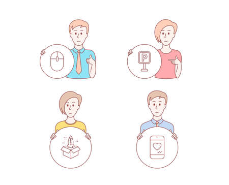 People hand drawn style. Set of Computer mouse, Startup and Parking icons. Love chat sign. Pc equipment, Innovation, Auto park. Smartphone.  Character hold circle button. Man with like hand. Vector