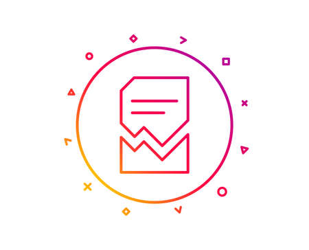 Corrupted Document line icon. Bad File sign. Paper page concept symbol. Gradient pattern line button. Corrupted file icon design. Geometric shapes. Vector Illustration
