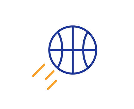 Basketball line icon. Sport ball sign. Competition symbol. Colorful outline concept. Blue and orange thin line color icon. Basketball Vector