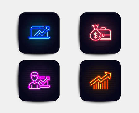 Neon set of Success business, Salary and Sales diagram icons. Demand curve sign. Growth chart, Diplomat with money bag, Sale growth chart. Statistical report. Neon sales icons. Vector
