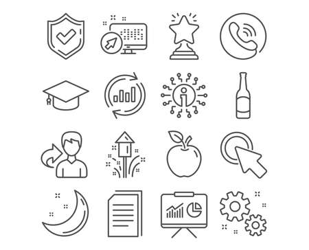 Set of Graduation cap, Click here and Work icons. Winner, Beer and Update data signs. Copy files, Presentation and Fireworks symbols. University, Push button, Settings. Winner vector