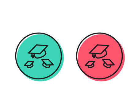 Graduation caps line icon. Education sign. Student hat symbol. Positive and negative circle buttons concept. Good or bad symbols. Throw hats Vector Иллюстрация
