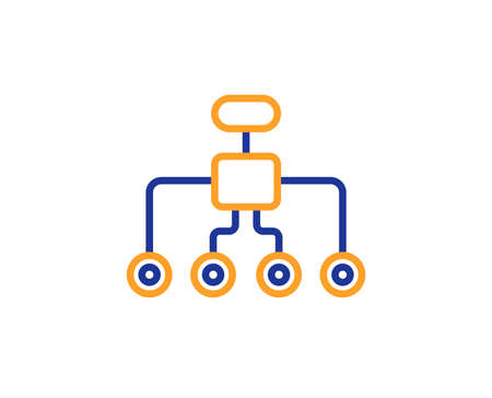 Restructuring line icon. Business architecture sign. Delegate symbol. Colorful outline concept. Blue and orange thin line color icon. Restructuring Vector