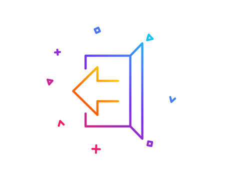 Logout arrow line icon. Sign out symbol. Navigation pointer. Gradient line button. Sign out icon design. Colorful geometric shapes. Vector Illustration