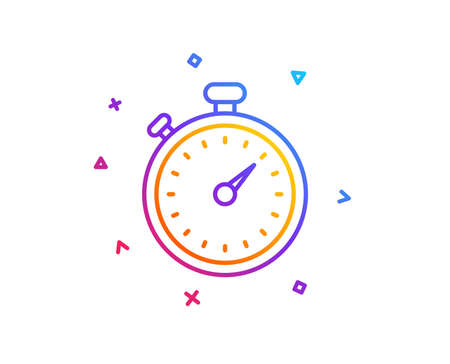 Timer line icon. Stopwatch symbol. Time management sign. Gradient line button. Timer icon design. Colorful geometric shapes. Vector