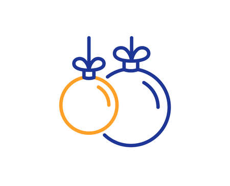 Christmas ball line icon. New year tree decoration sign. Colorful outline concept. Blue and orange thin line color icon. Christmas ball Vector