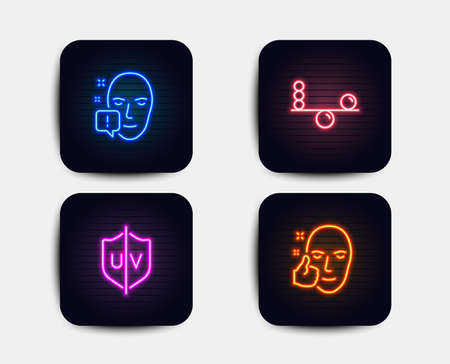 Neon set of Face attention, Uv protection and Balance icons. Healthy face sign. Exclamation mark, Ultraviolet, Concentration. Healthy cosmetics. Neon icons. Glowing light uv banners. Vector