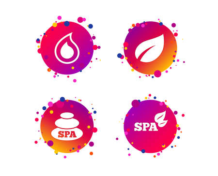 Spa stones icons. Water drop with leaf symbols. Natural tear sign. Gradient circle buttons with icons. Random dots design. Water drop vector Illustration