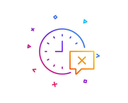 Time line icon. Remove alarm sign. Gradient line button. Time icon design. Colorful geometric shapes. Vector